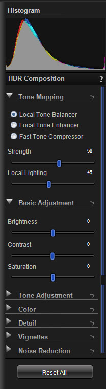 HDR Photo Pro Image Adjustment Option Panel