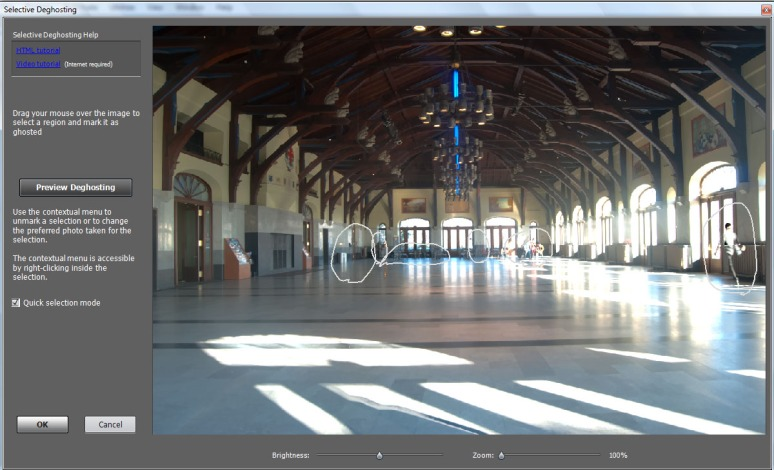 Photomatix Deghosting screen