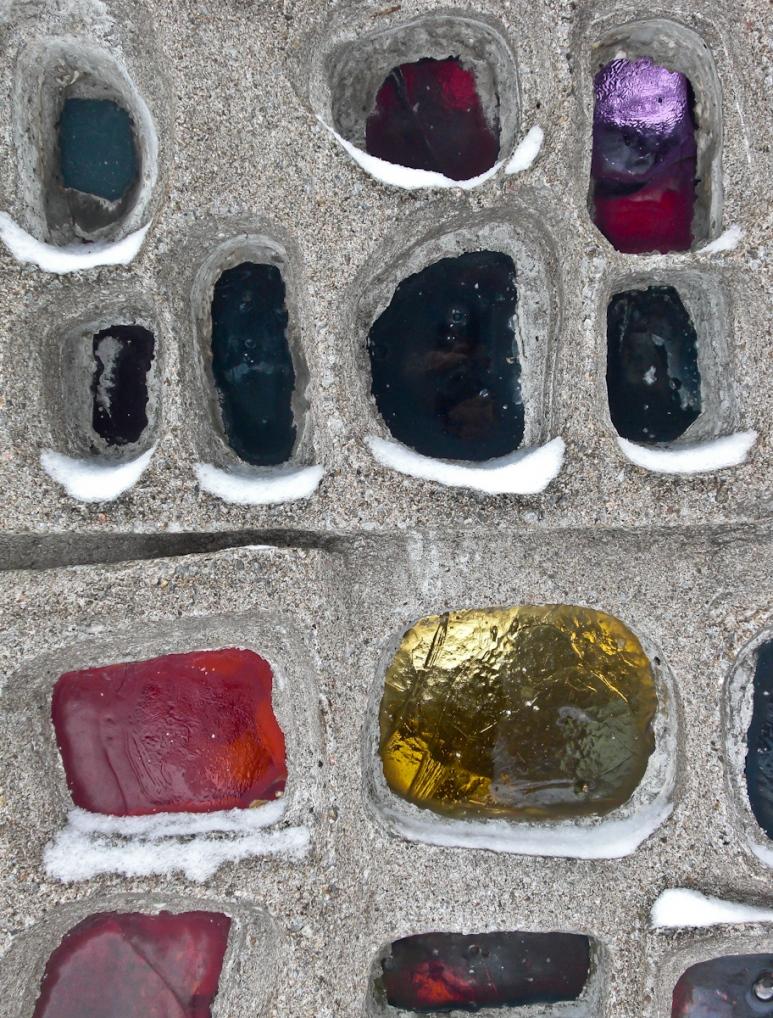 Glass and concrete art piece