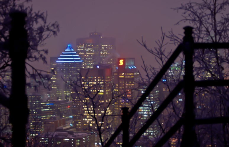 Downtown Montreal from staircase leading to the Kondiaronk Chalet on Mont Royal