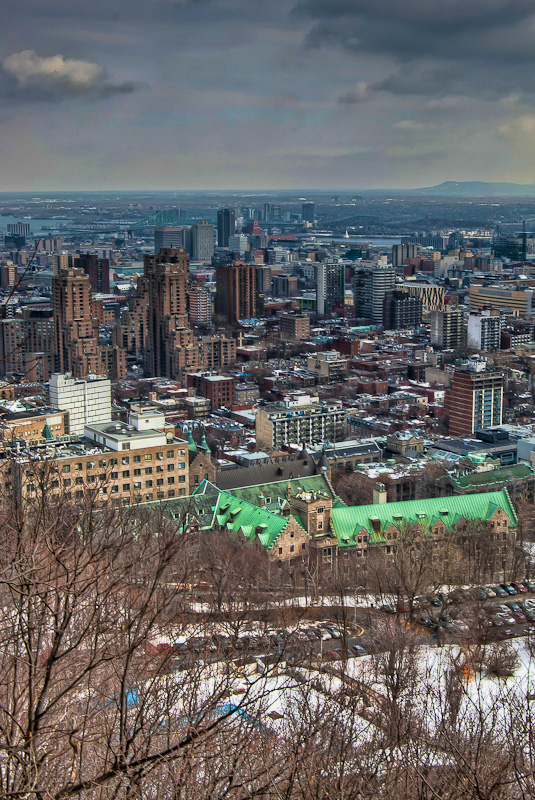 Eastern View of Montreal from the Escarpment path on Mont Royal