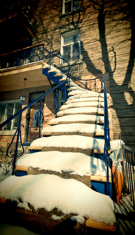 Staircase under snow on rue Saint Urbain
