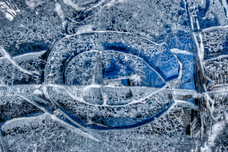 Montreal Canadiens logo in ice