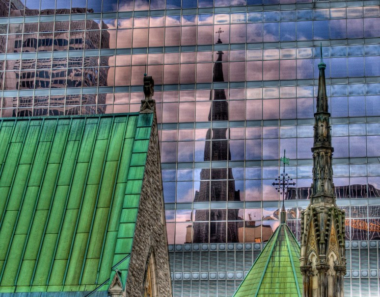 Christ Church Cathedral refected in the KMPG tower