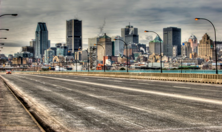 Montreal skyline from Pont de la Concorde