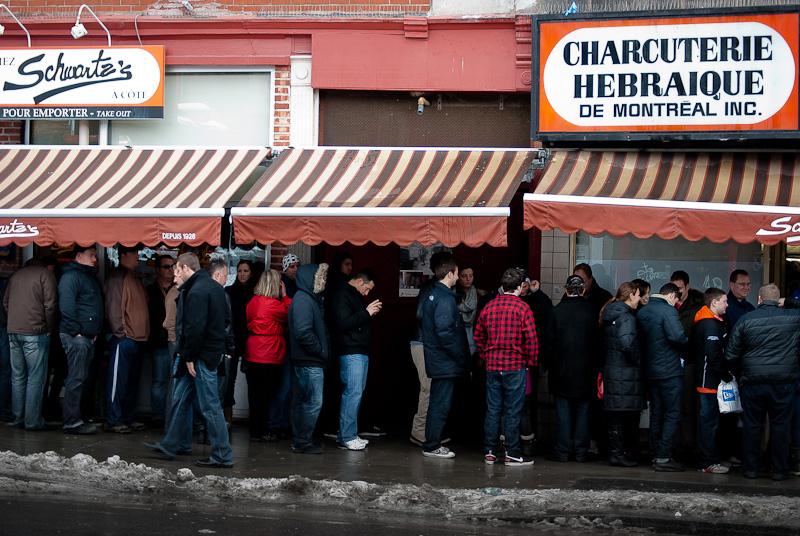 Regular line-up at Schwartz's restaurant