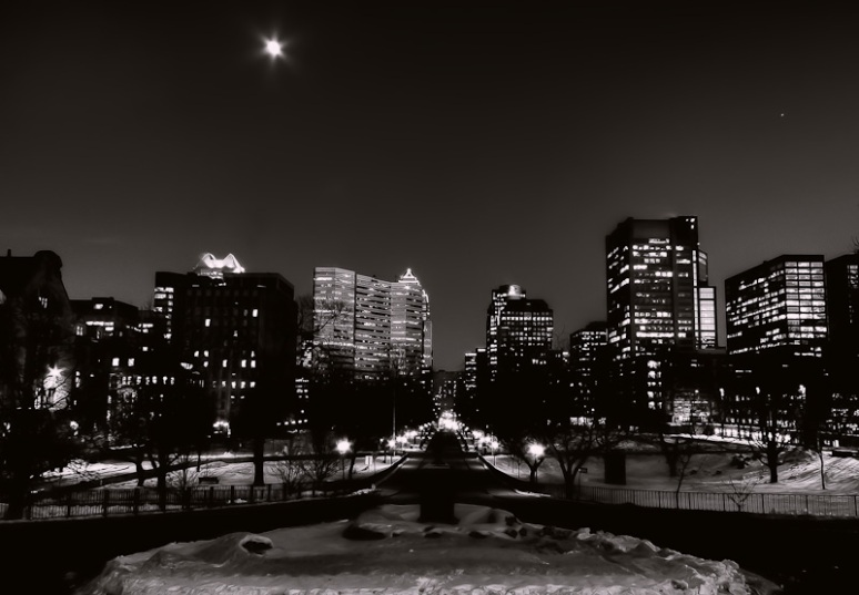 Montreal skyline with moon from McGill University