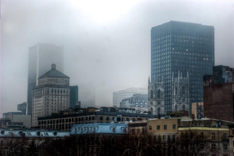 Montreal Skylines shrouded in mist