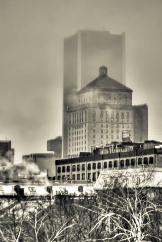 Misty Montreal skyline