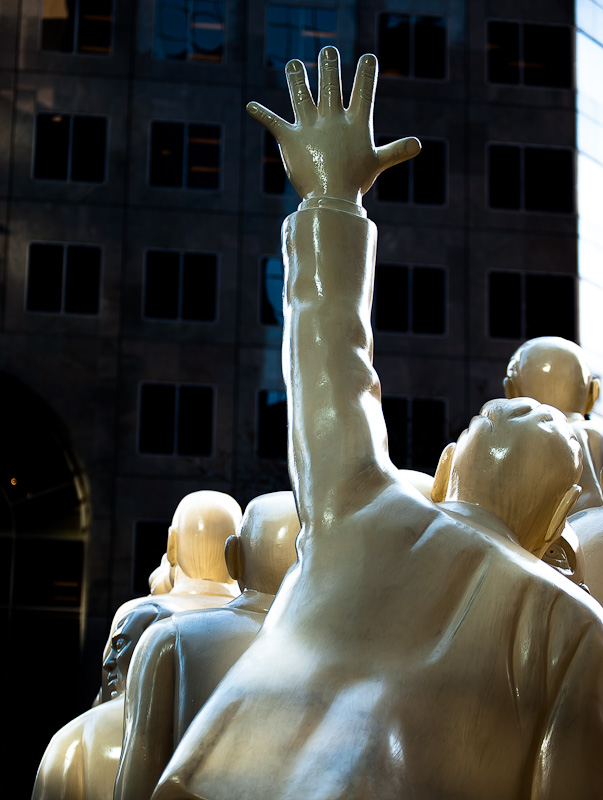 The Illuminated Crowd sculpture by Raymond Mason