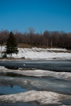 Still a hint of winter at Lac aux Castors tube slide