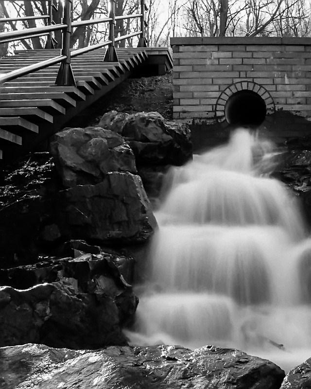 Waterfall near Peel Street entrance to Mount Royal Park
