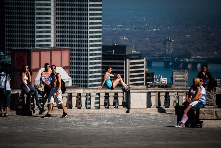 Enjoying the sun on top of Mount Royal