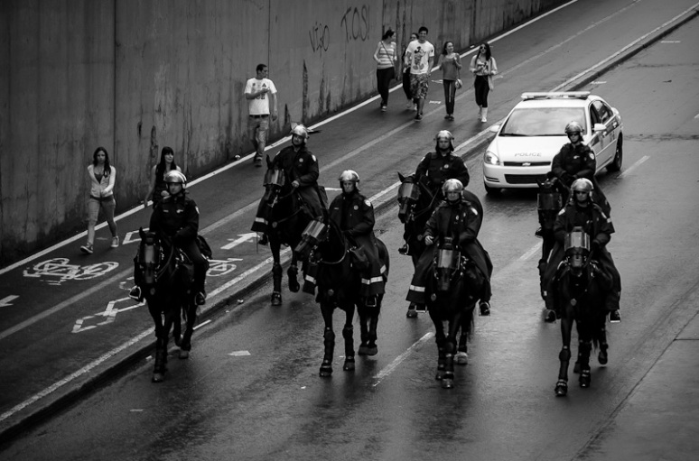 Mounted police trailing student march