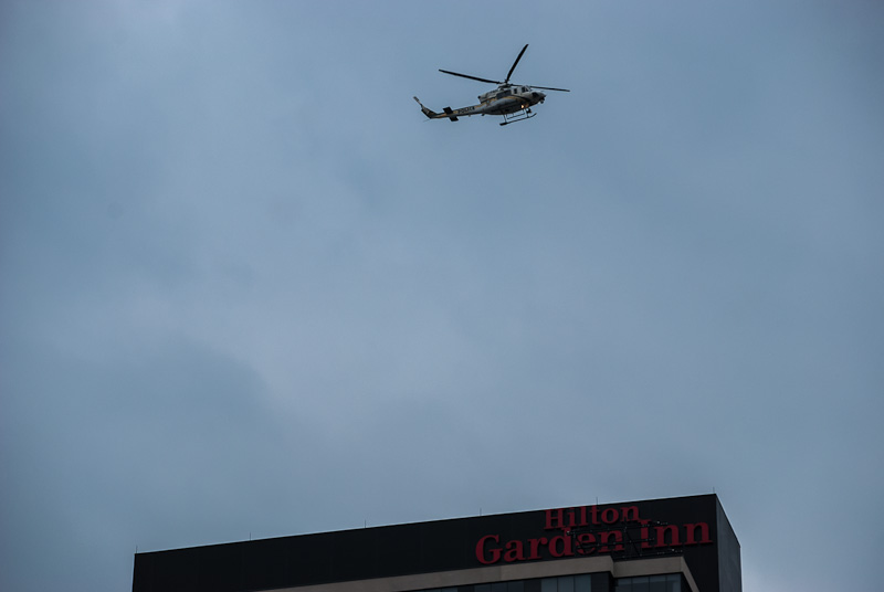 Police helicopter keeps watchful eye on protesters