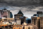 HDR of Montreal skyline from parc Jeanne-Mance