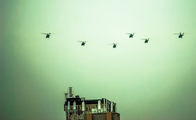 Military helicopters over Montreal