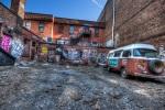 Vintage Camper Van among graffiti