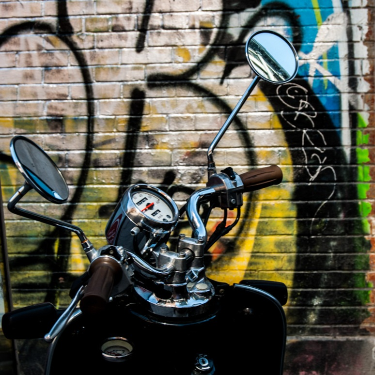 Moped with graffiti