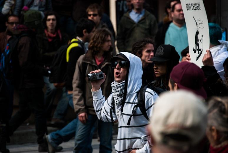 Protester on rue Saint Urbain