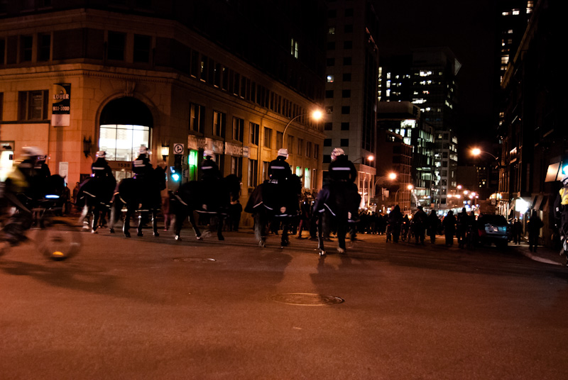 Mounted police at rear of student march