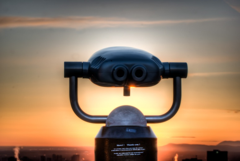 Hi Spy Viewing machine at sunrise on Mount Royal