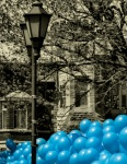 Blue Balloons at Carré Saint-Louis for march to raise awareness of Autism