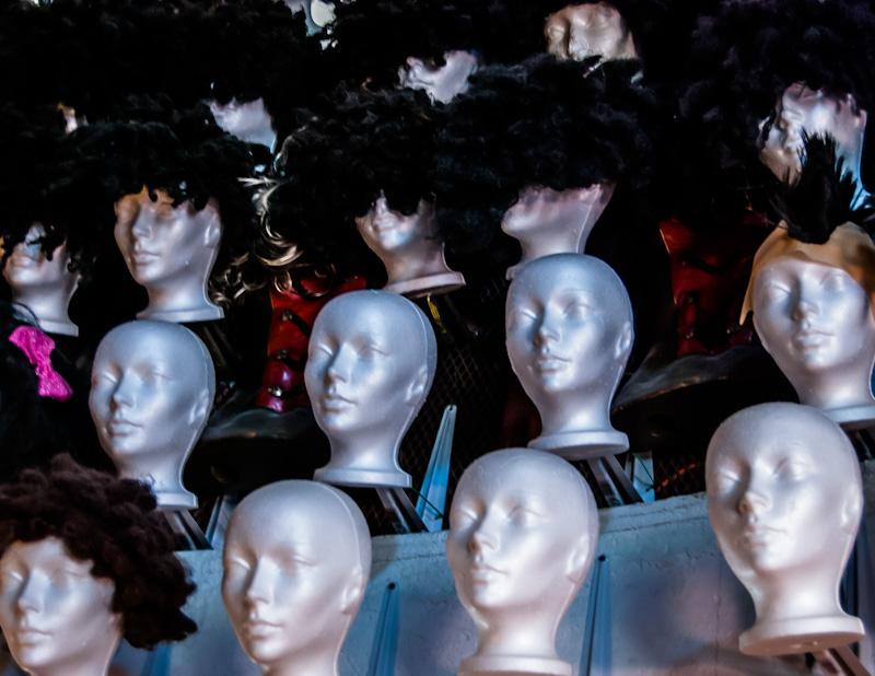Wig display at Eva B