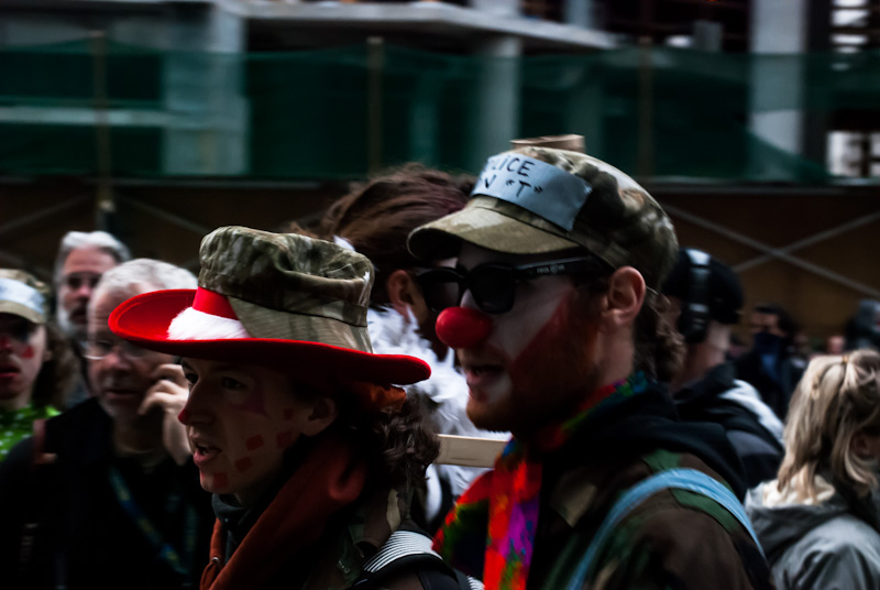 Anti-Capitalist clown protesters