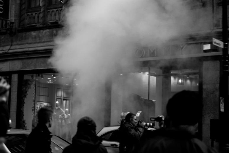 Smoke bomb on rue sainte-Catherine