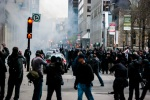 Protesters throw projectiles at police on Sainte Catherine