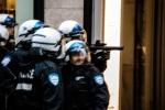 Montreal police retreat down sainte Catherine