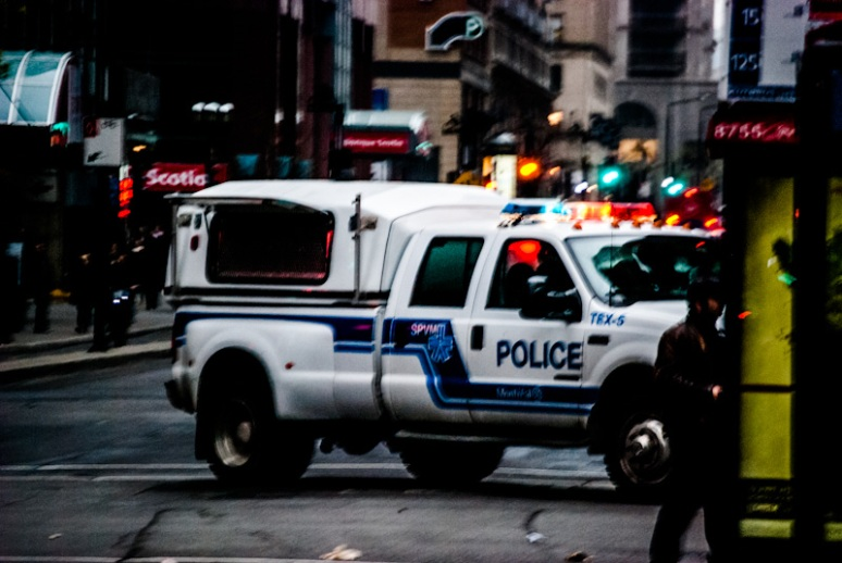 Police announcement van calling gathering illegal