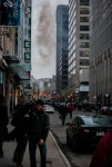 Smoke hangs in the air on University street as police move in