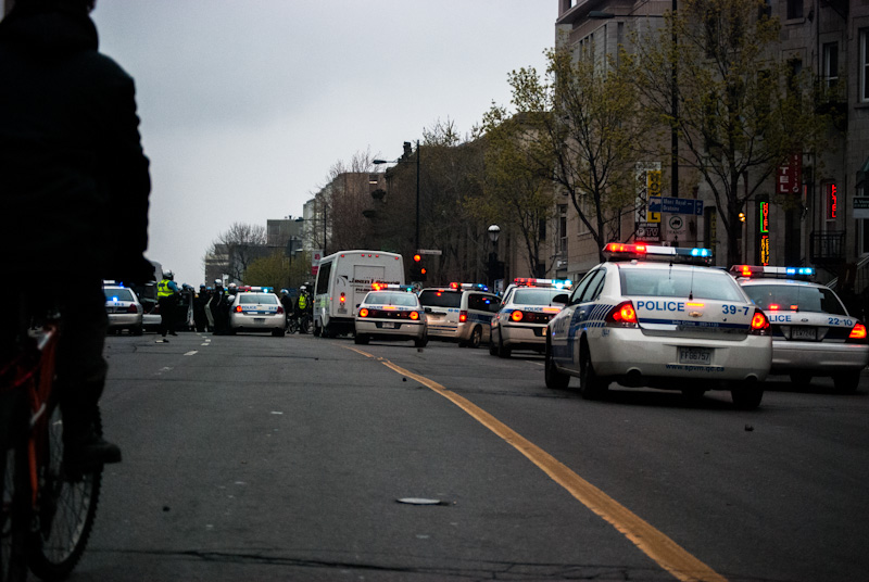 Police vehicles along Sherbrooke street