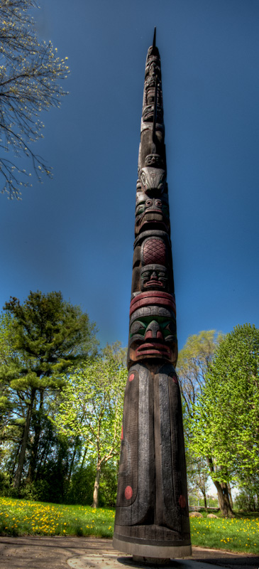 Totem pole beside the Canadian Pavillion