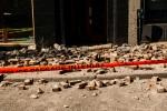 Brick rubble on rue de Bleury sidewalk