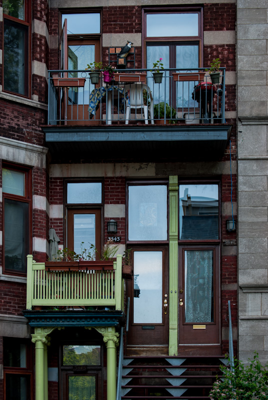 Typical triplex home on rue Jeanne Mance
