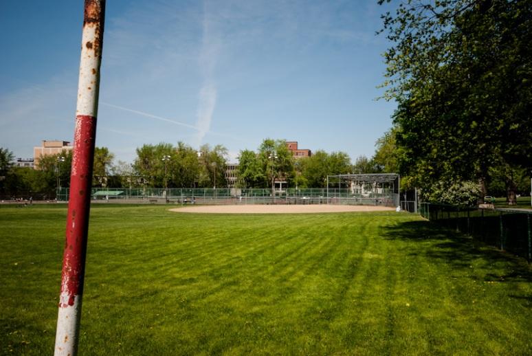 2 baseball diamonds at Jeanne Mance Park