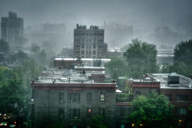 Heavy rain storm over Montreal