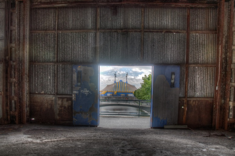 Looking out the door of Hangar 16