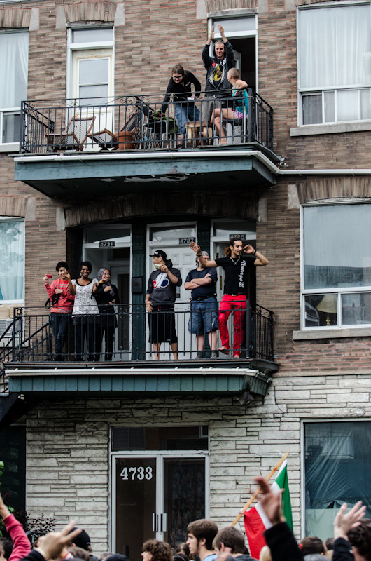 Supporters on balcony