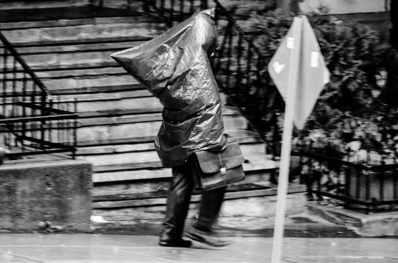 A bin bag running for cover