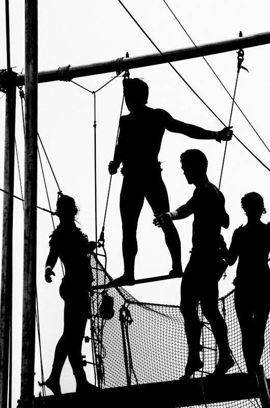 Silhouette of Trapeze artists