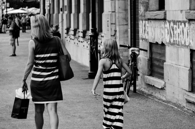 Striped mother and daughter