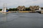 Sailing boat, Habitat 67 and Luna the Mega Motor Yacht