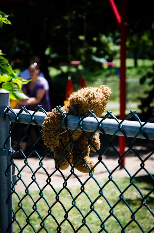 A forlorn bear at Parc Jeanne-Mance