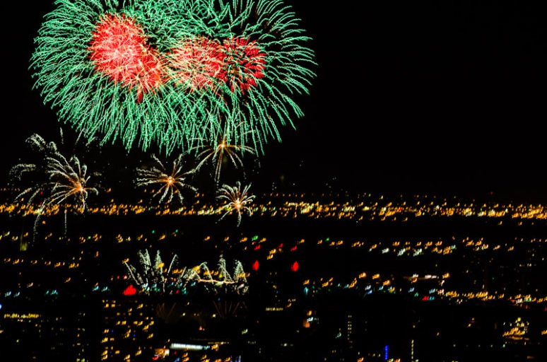 Firework competition as seen from Mount Royal