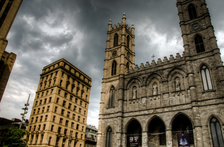 Notre Dame Basilica with storm clouds