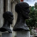 In memoriam I and In memoriam II by Elisabeth Frink